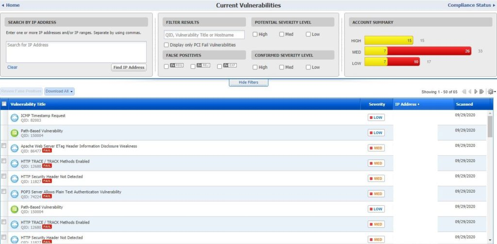 PCI Compliance Scanner Vulnerability Report