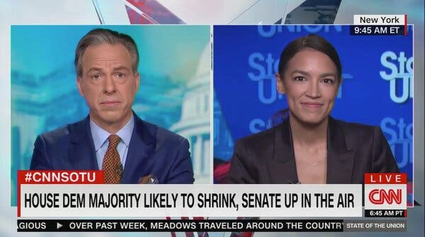Representative Alexandria Ocasio-Cortez of New York on the CNN program State of the Union with Jake Tapper on Sunday.