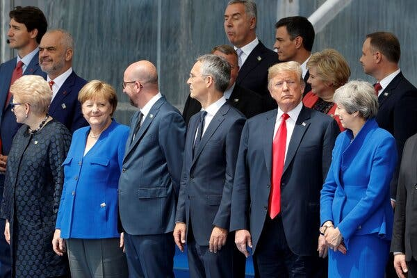President Trump attending the opening ceremony of the NATO summit in Brussels in 2018.