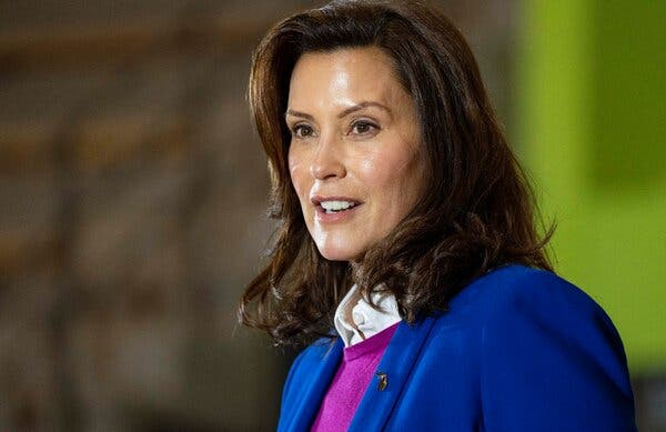 Gov. Gretchen Whitmer of Michigan speaking at a Biden campaign event in the state last month.