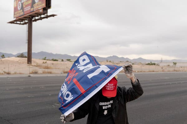 A supporter of President Trump in Las Vegas on Saturday. The Trump campaign sent out a flurry of solicitations to supporters asking for money to fund its legal battles.