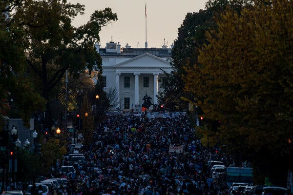 Groups gathered outside the White House in support of President-elect Joseph R. Biden Jr. on Saturday.